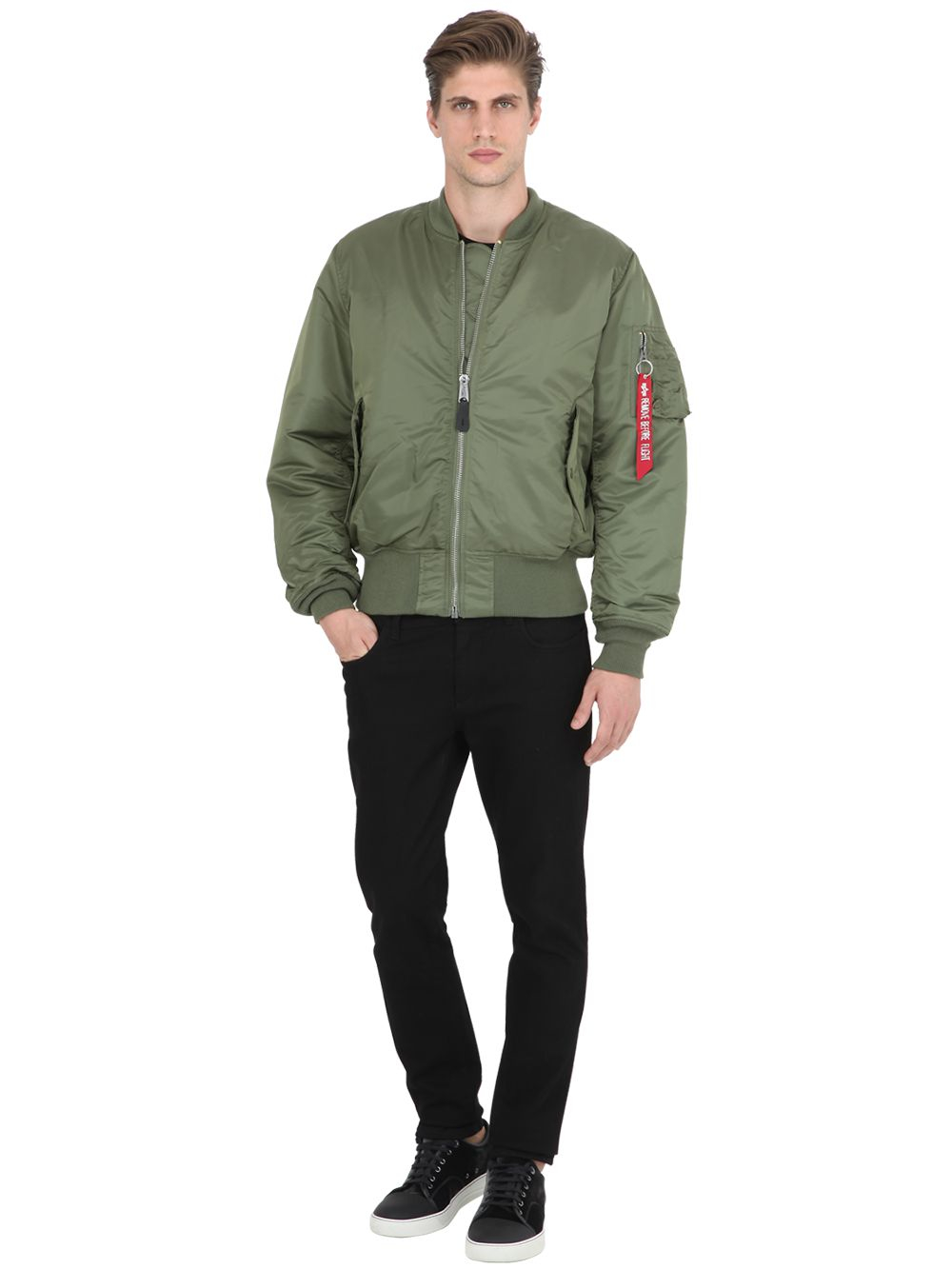 Alpha Industries Synthetic Nylon Bomber Jacket in Green for Men