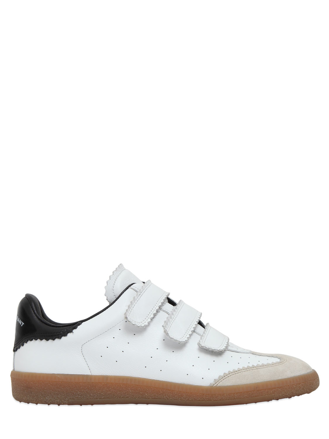 isabel marant etoile beth leather sneakers in white white black lyst. Black Bedroom Furniture Sets. Home Design Ideas
