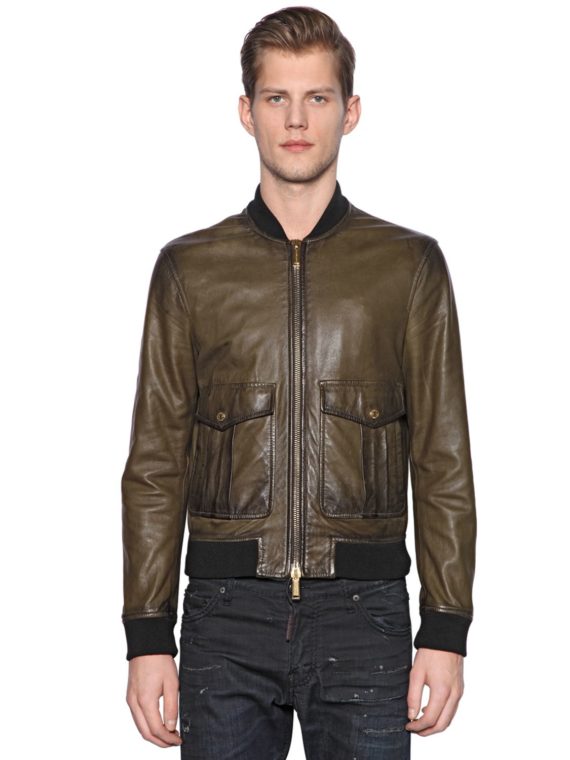Dsquared 178 Nappa Leather Bomber Jacket In Brown For Men Lyst