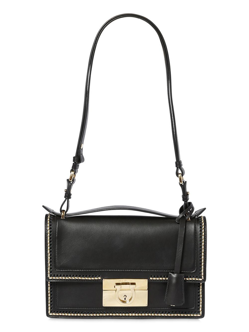 c88d45abc3c3 Lyst - Ferragamo Aileen Brushed Gold Stitched Leather Bag in Black