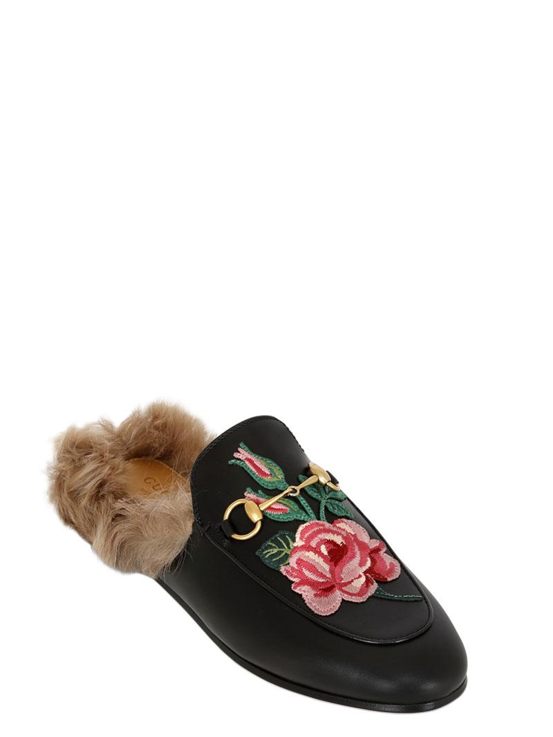 b5a4bbbee9c0 Lyst - Gucci Princetown Bow Fur-lined Mule in Black