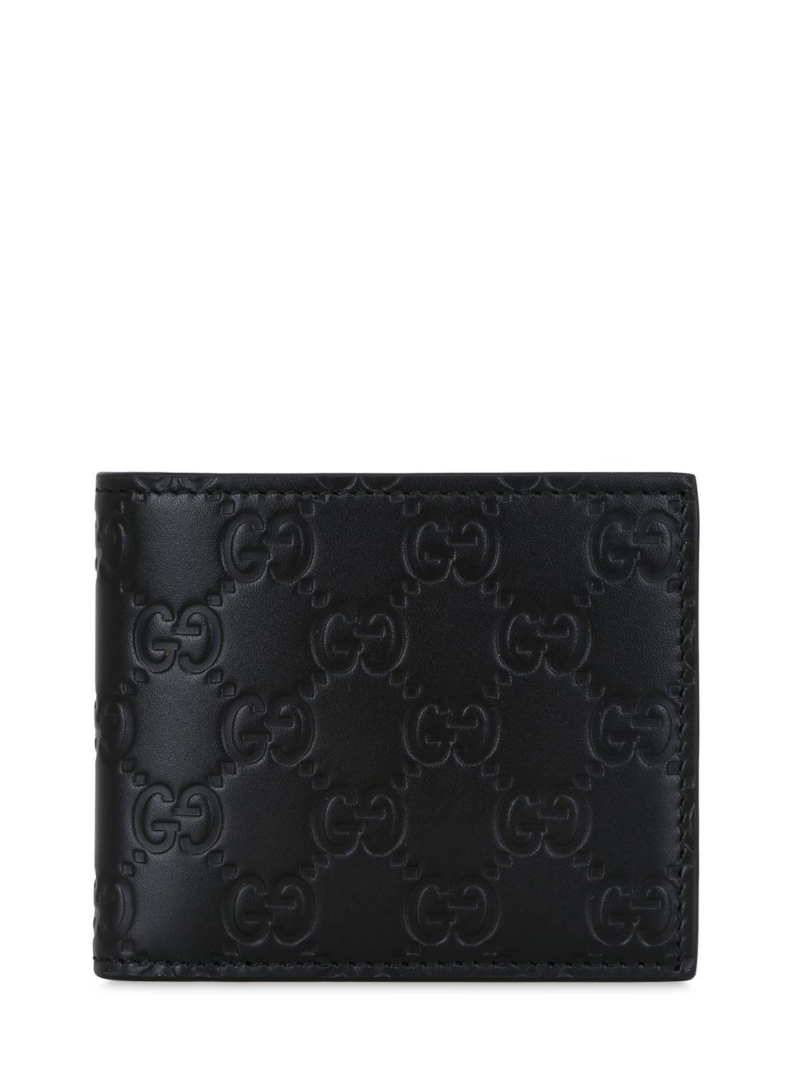 Lyst - Gucci Signature Logo Leather Wallet in Black for Men