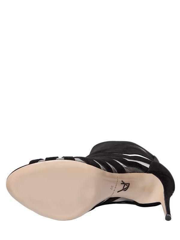 Paul Andrew 90mm Hanaa Suede & Mesh Open Toe Boots in Black
