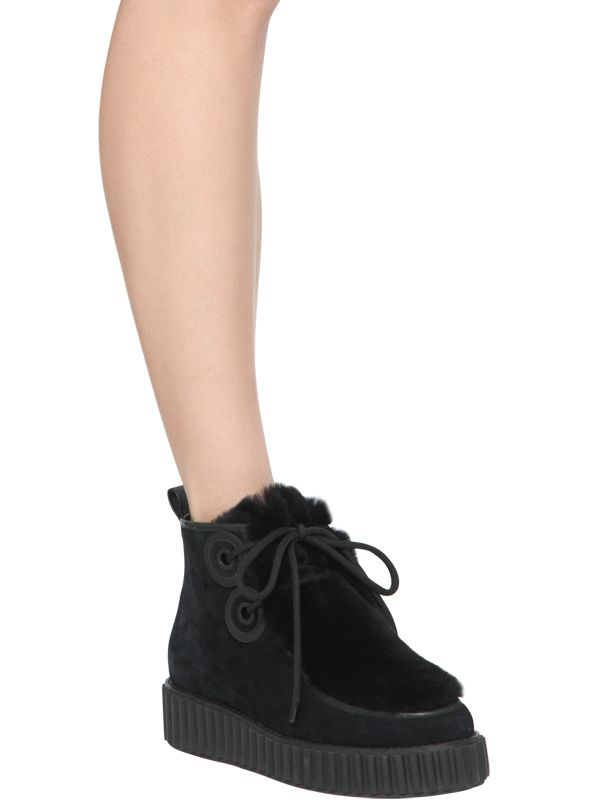 Kat Maconie 40mm Suede & Shearling Lace Up Boots in Black
