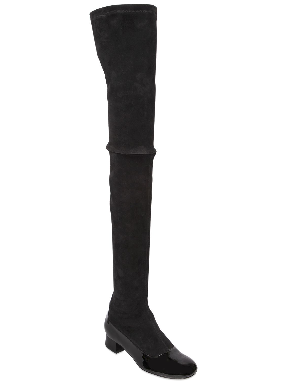Camilla Elphick 30mm Beatnik Stretch Suede Boots in Black