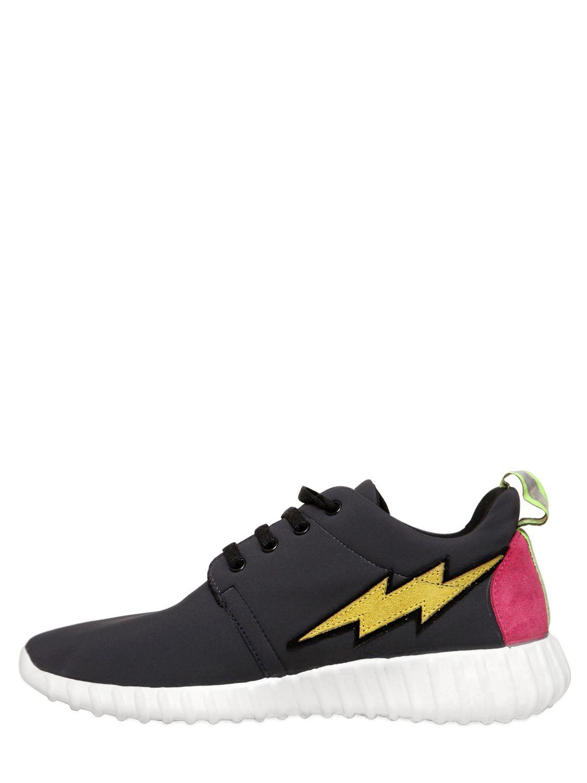 Leo Lighting Bolt Neoprene Running Sneakers in Blue (Black)
