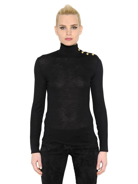 Balmain Gold Buttons Turtleneck Wool Sweater In Black Lyst