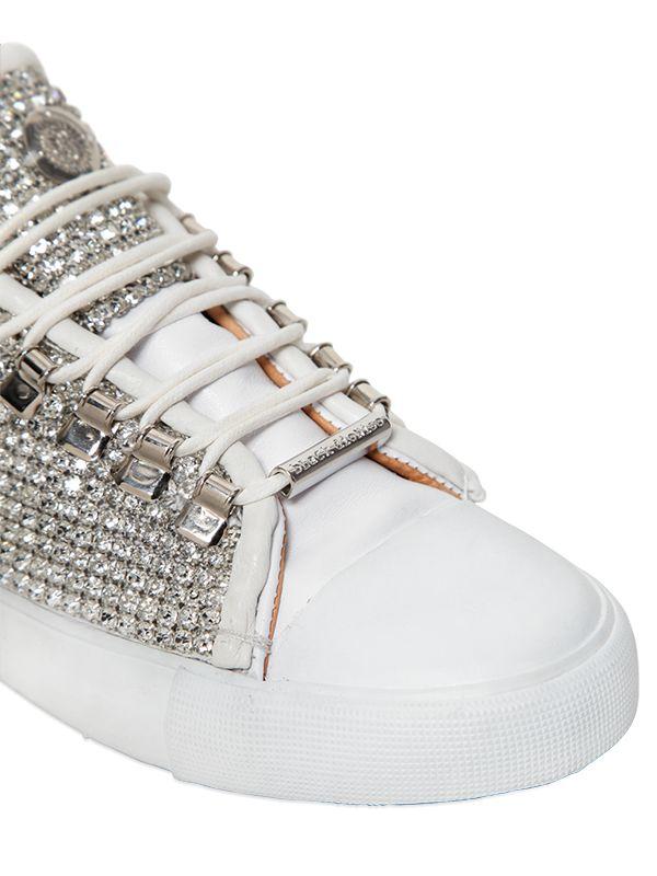 Black Dioniso 20mm Swarovski Leather Sneakers in White