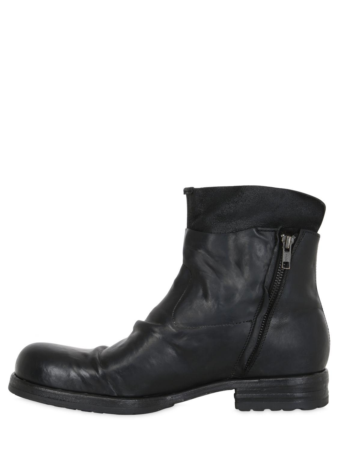 Lyst Shoto Washed Horse Leather Ankle Boots In Black For Men