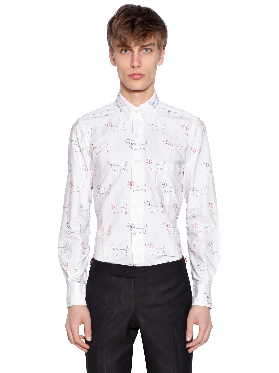 Lyst thom browne dogs embroidered cotton oxford shirt in for Thom browne shirt sale