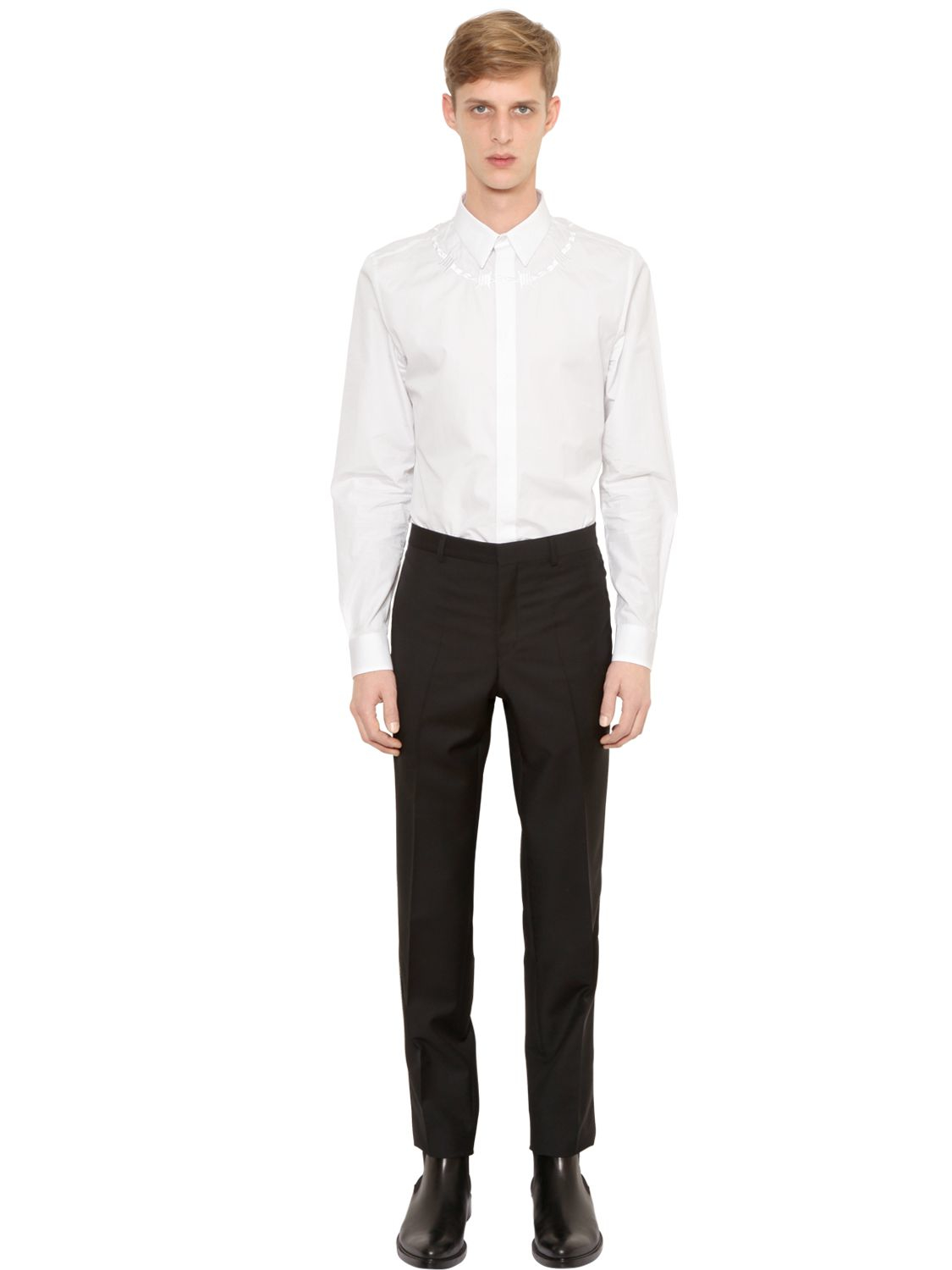 Givenchy Barbed Wire Embroidered Poplin Shirt in White for Men