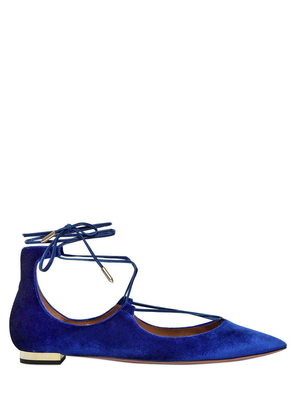 Aquazzura Christy Velvet Flats in Blue