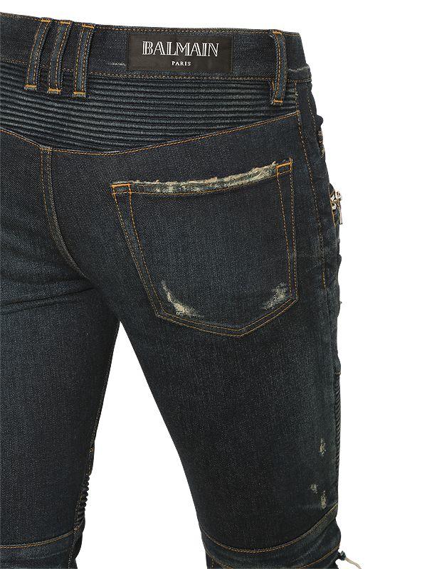 Balmain Biker Stretch Denim Jeans in Blue (Black) for Men