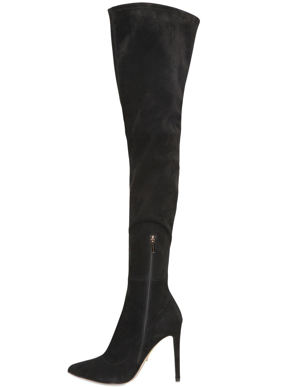 Sergio Rossi 105mm Matrix Stretch Suede Boots in Black