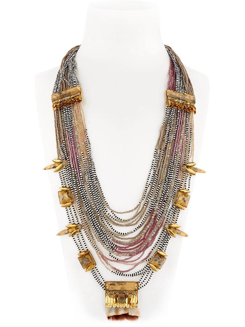 Deepa Gurnani Cotton Skull Claw Chain Necklace in Metallic