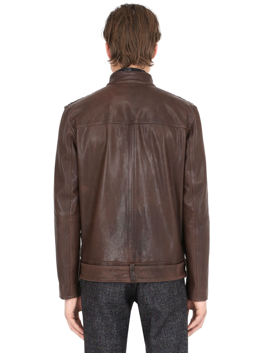Lyst Trussardi Woven Leather Moto Jacket In Brown For Men