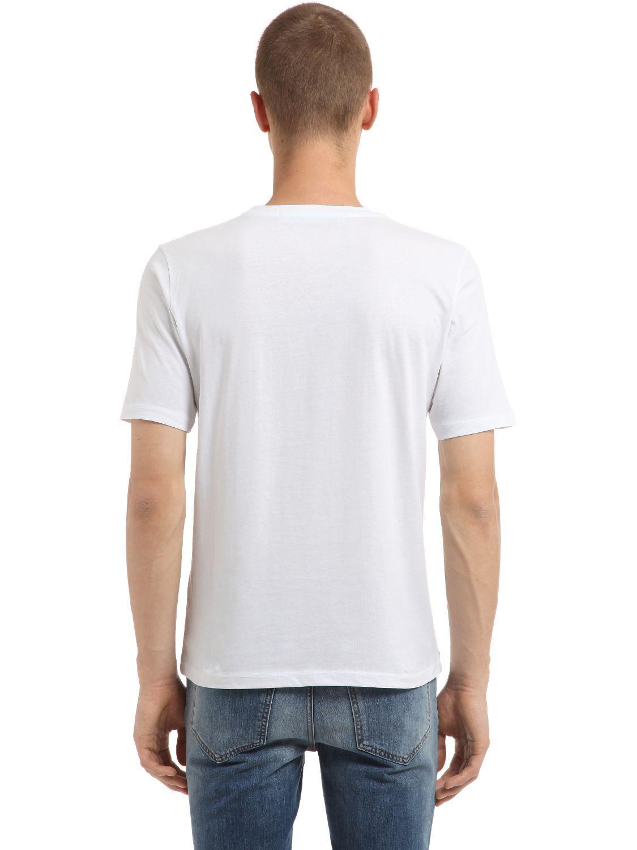 Lyst john richmond logo print t shirt in white for men for T shirt printing richmond va