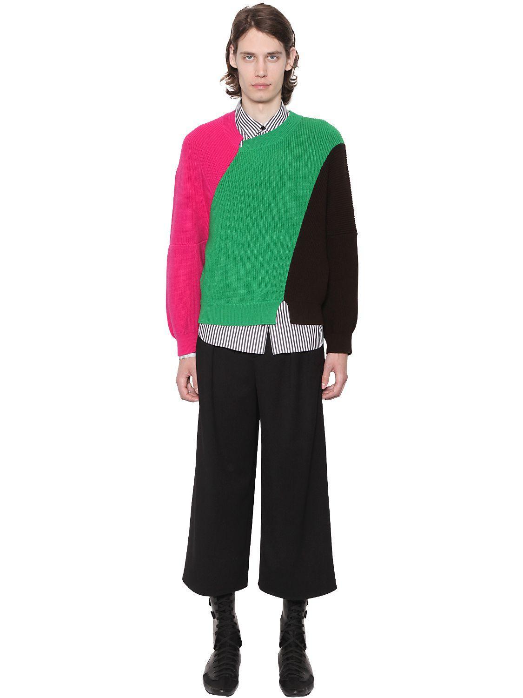 JW Anderson Color Block Merino Wool Knit Sweater in Green for Men