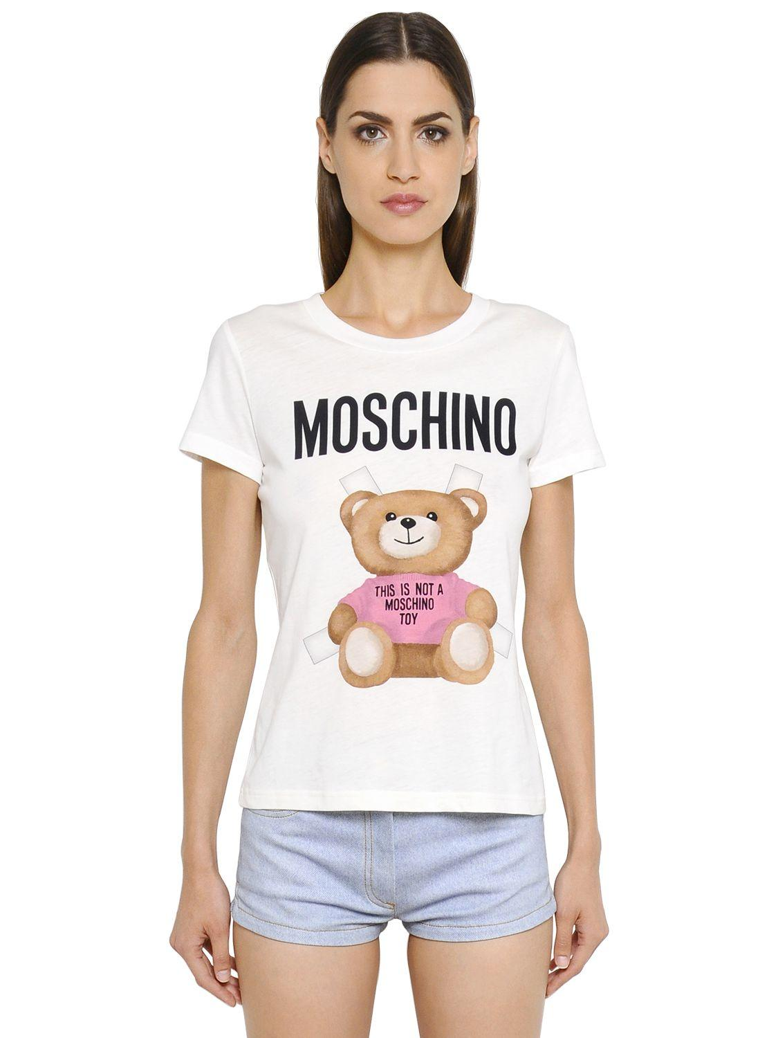 Moschino Bear Printed Cotton Jersey T-shirt in White | Lyst