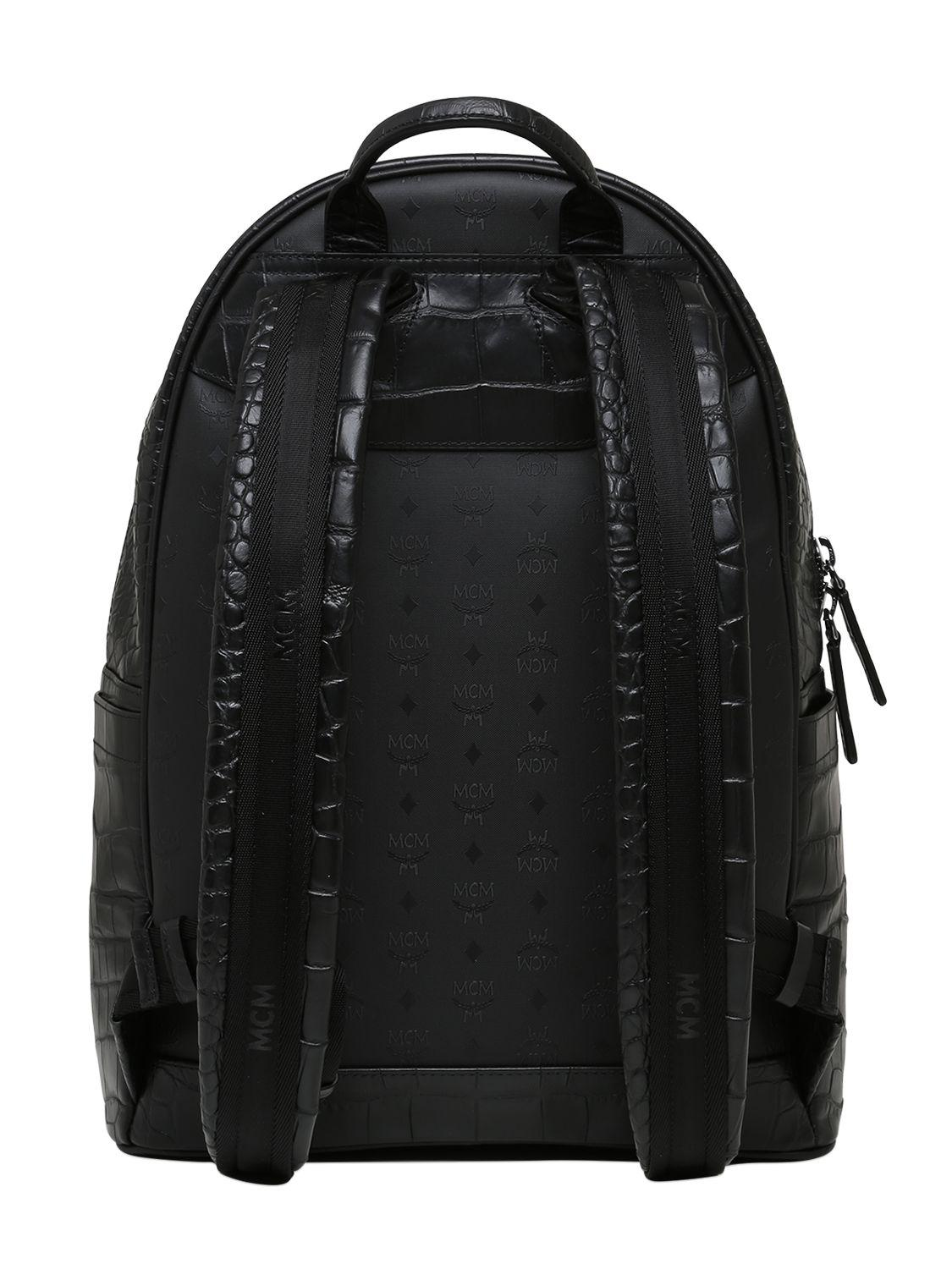 MCM Medium Stark Luxus Leather Backpack in Black