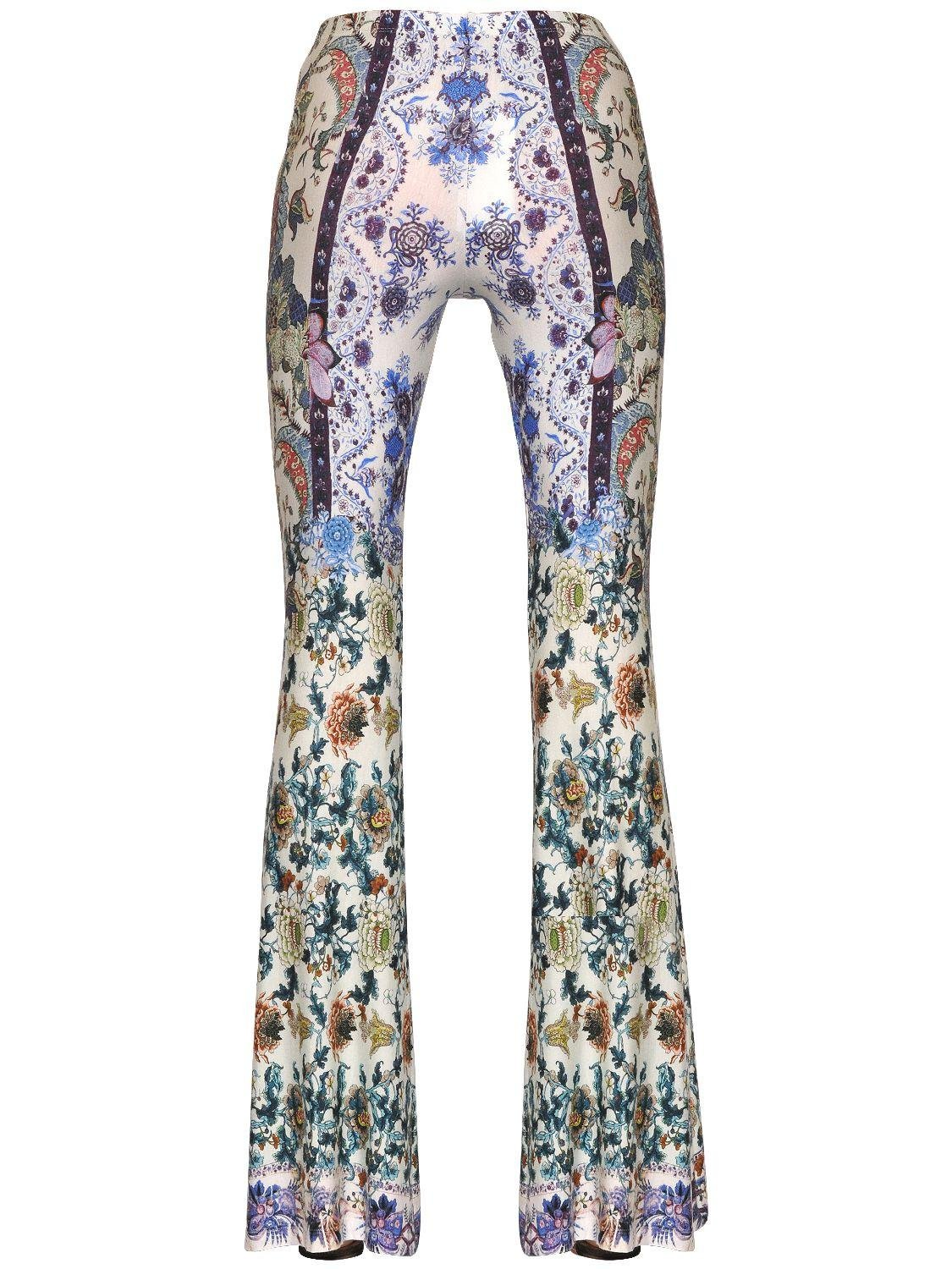 Lyst Black Coral Printed Jersey Flared Leggings In Blue