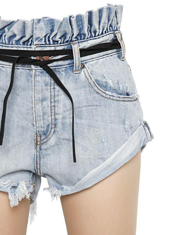 One Teaspoon Le Bandits Ruffled Cotton Denim Shorts In -3705
