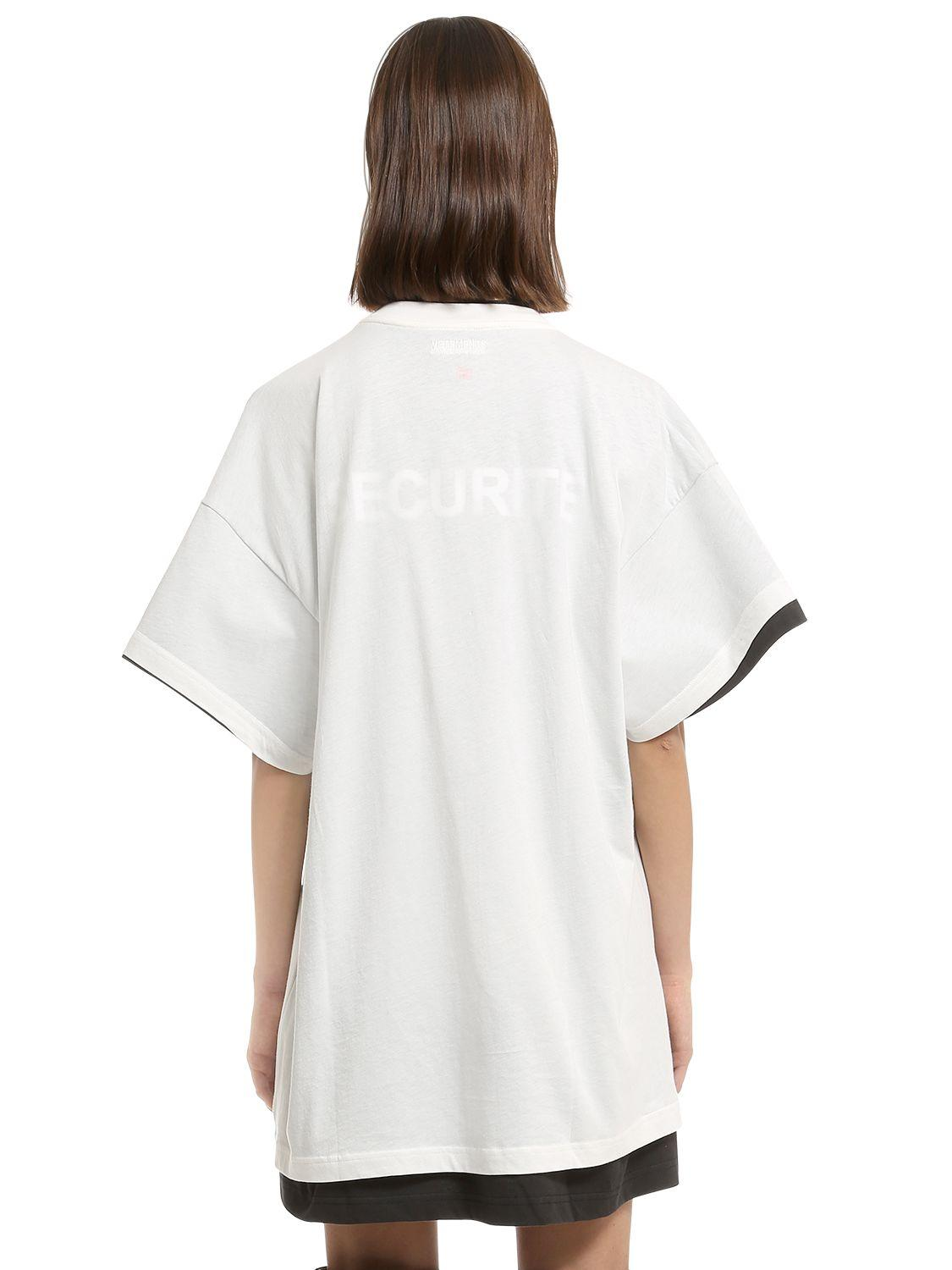 vetements hanes securite jersey doubled t shirt in white. Black Bedroom Furniture Sets. Home Design Ideas