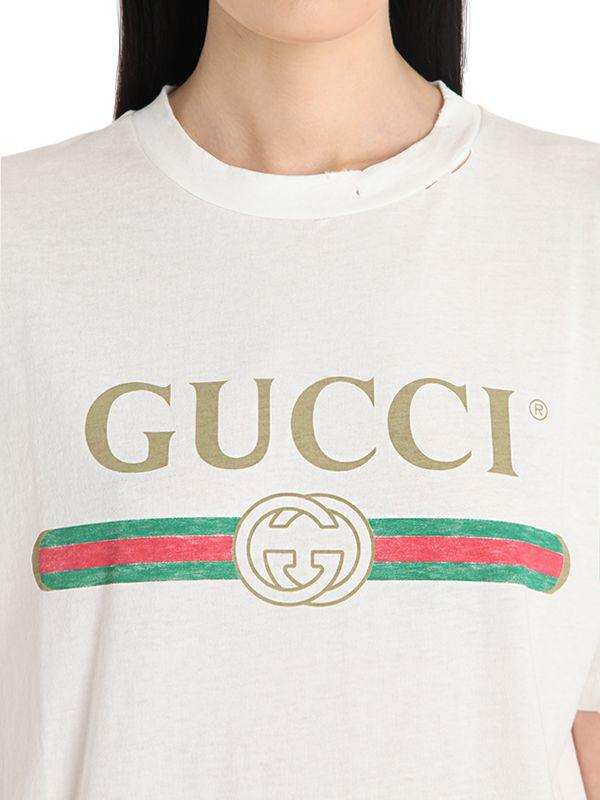Lyst - Gucci Logo & Embroidery Cotton Jersey T-shirt in White