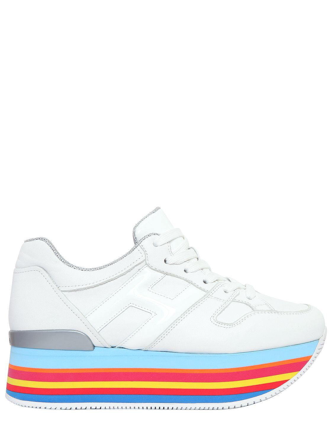 Hogan 70mm Maxi 222 Leather Sneakers in White/Rainbow (White) - Lyst