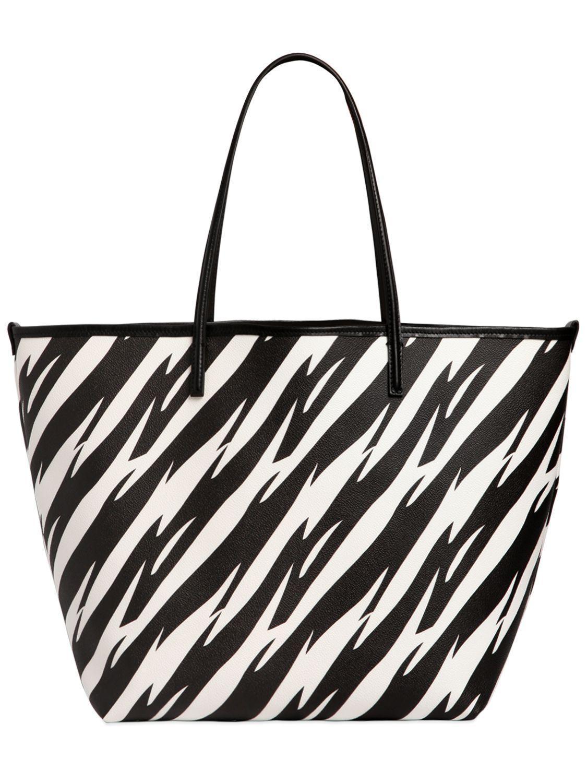 DSquared² Leather Alberta Tiger Printed Tote Ebag in Black/White (Black)