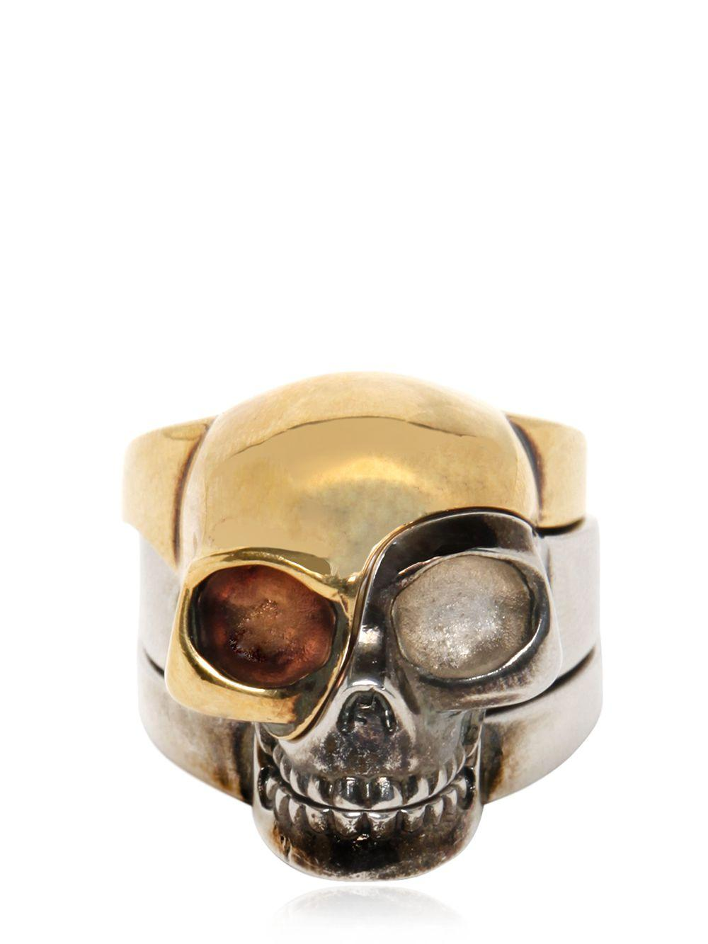 Alexander McQueen Divided Skull Ring in Gold/Silver (Metallic)