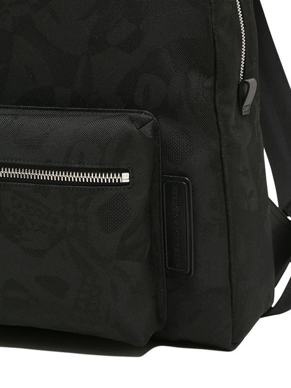 Alexander McQueen Leather Skull Jacquard Backpack in Black for Men