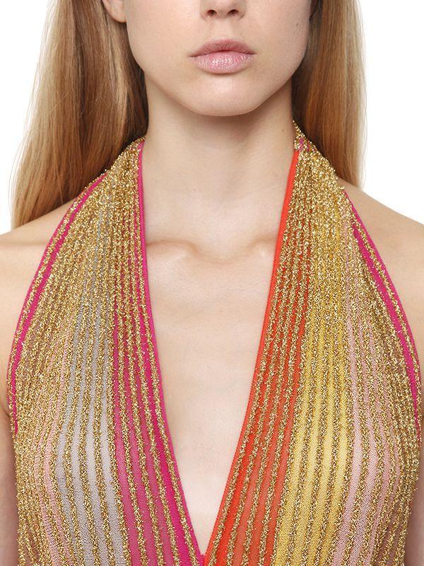 92cf04b5a1ca Lyst - M Missoni Lurex Knit Low Cut Open Back Dress
