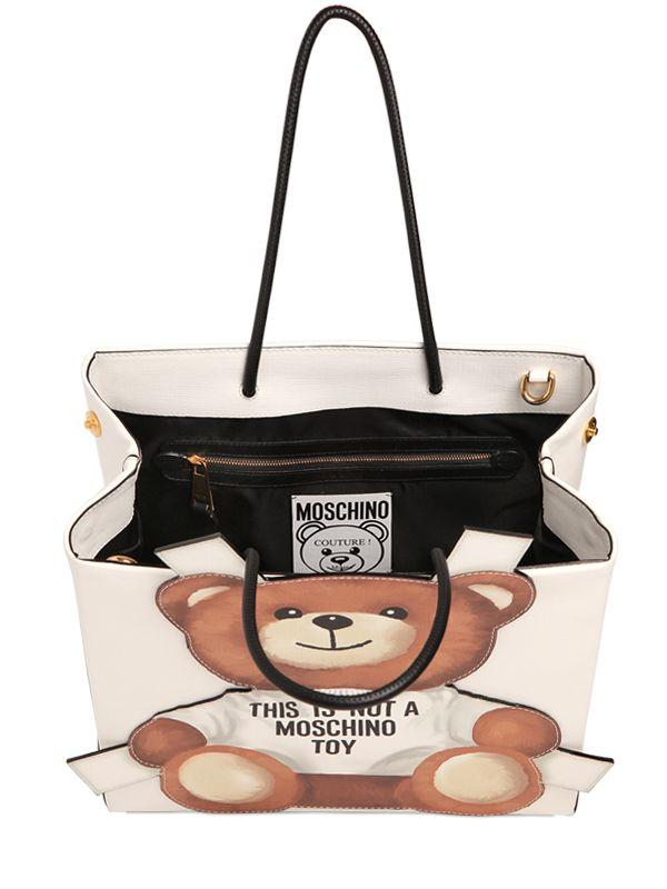 e9daced2f7 Moschino Teddy Bear Tab Faux Leather Tote Bag in White - Lyst