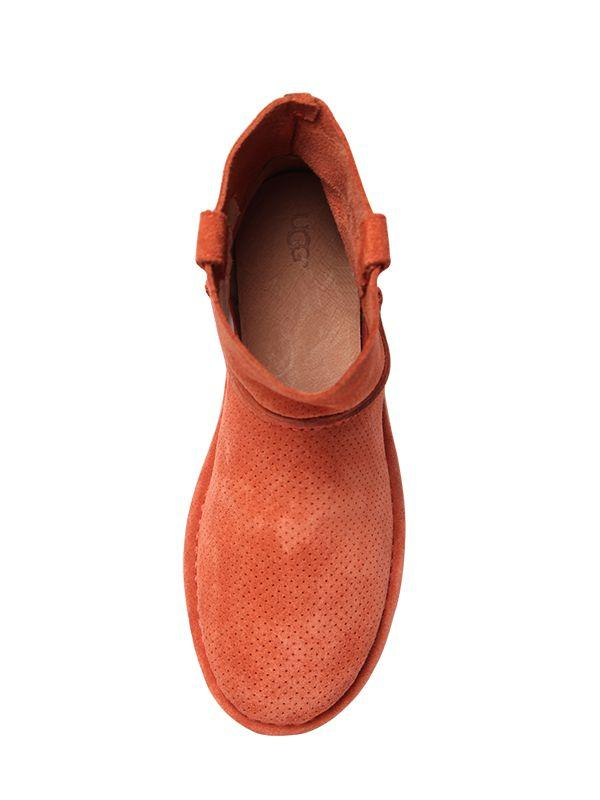UGG Classic Mini Perforated Suede Boots in Orange