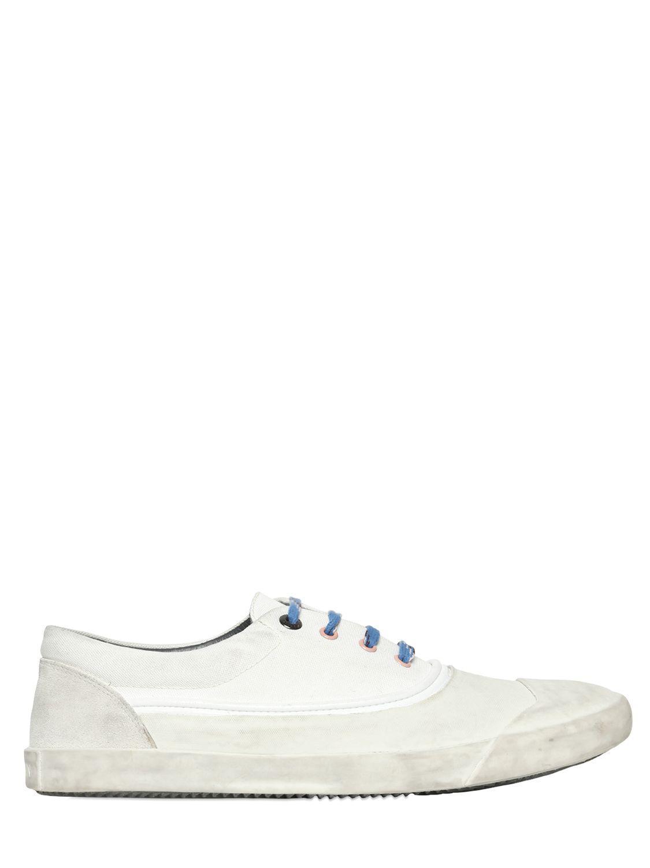 lanvin cotton canvas rubber toe sneakers in white for