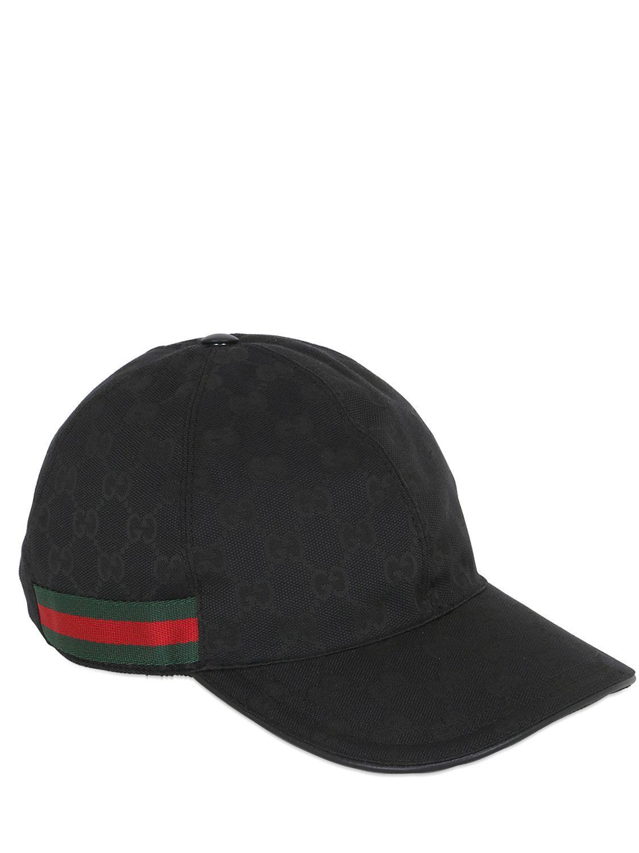 gucci original gg canvas baseball hat in black for men lyst. Black Bedroom Furniture Sets. Home Design Ideas
