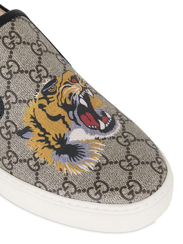 d1e44f5a4 Gucci Tiger Print Gg Supreme Slip On Sneakers in Natural for Men - Lyst