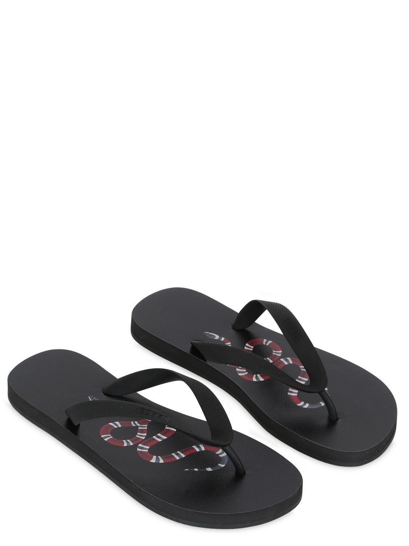 02fd08cf45ab Lyst - Gucci Rubber Snake Flip Flops in Black