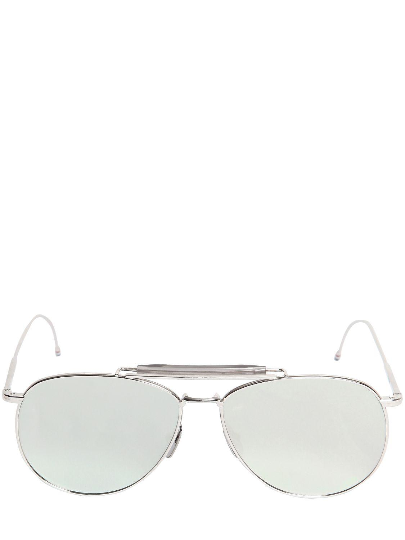 Thom browne Silver Mirrored Aviator Sunglasses in Metallic ...