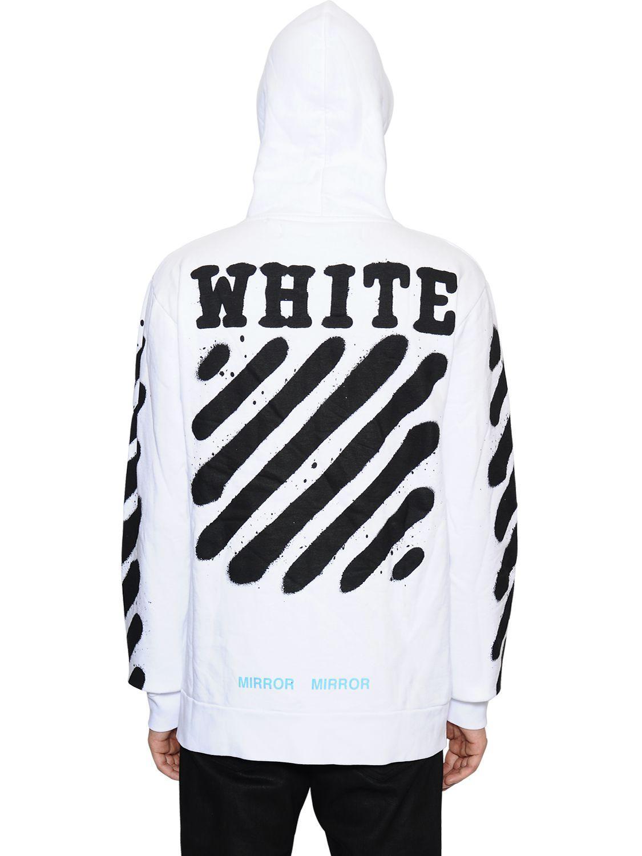 off white c o virgil abloh spray stripes zip up cotton sweatshirt in. Black Bedroom Furniture Sets. Home Design Ideas