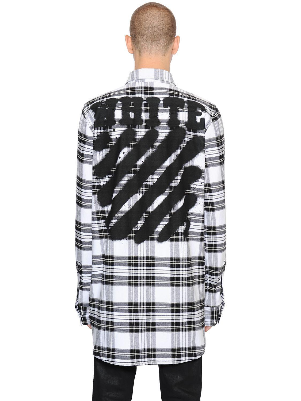 d45e18ad8a49 Lyst - Off-White c o Virgil Abloh Spray Stripes Cotton Flannel Shirt ...