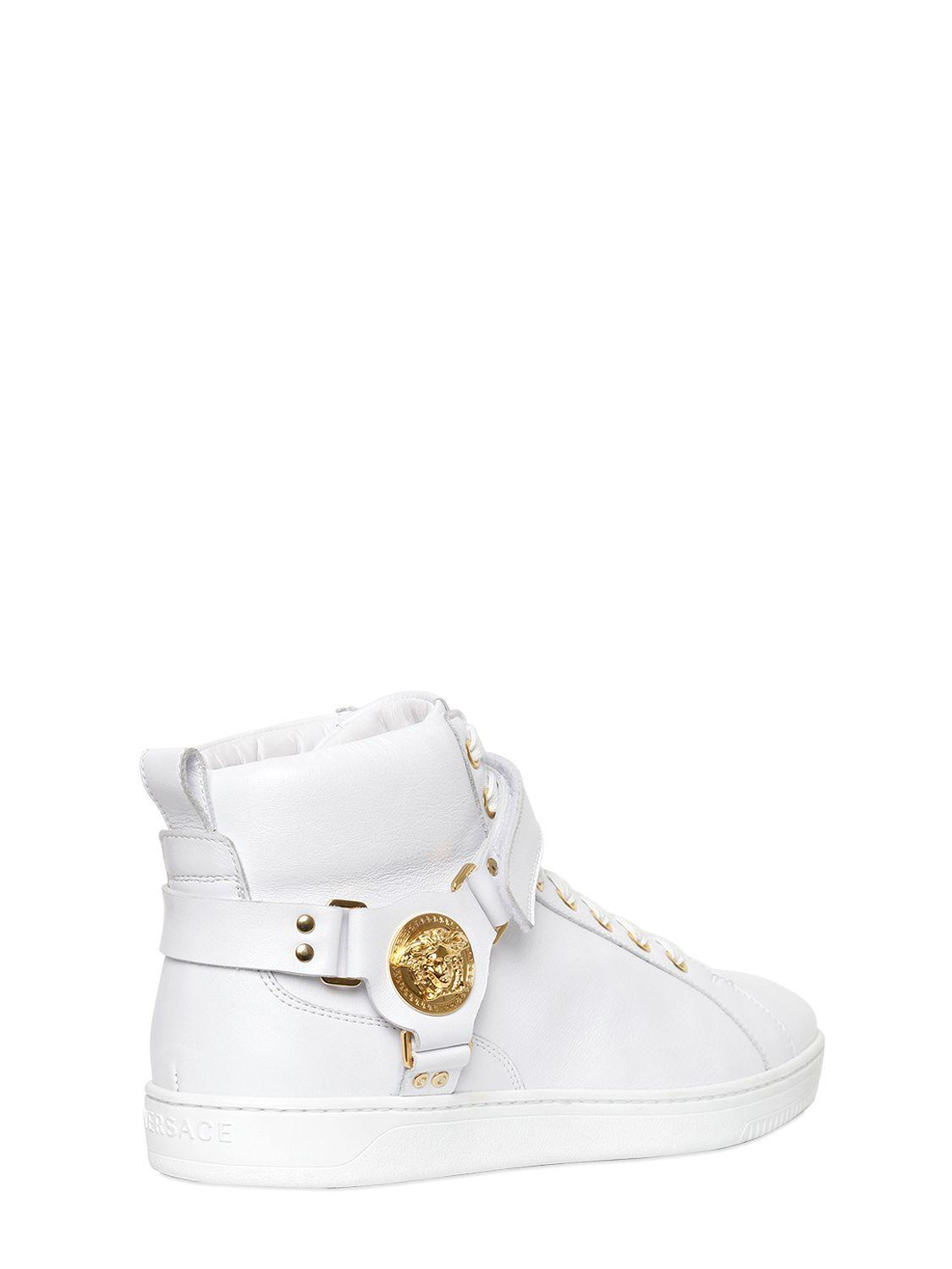 lyst versace medusa smooth leather high top sneakers. Black Bedroom Furniture Sets. Home Design Ideas