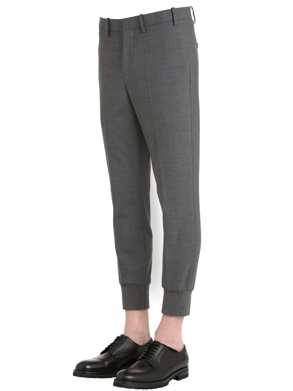 Neil Barrett Light Stretch Gabardine Trousers in Grey (Grey) for Men