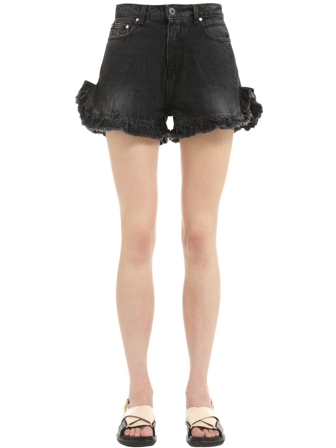 5151922e31 MSGM Ruffled Cotton Denim Shorts in Black - Lyst