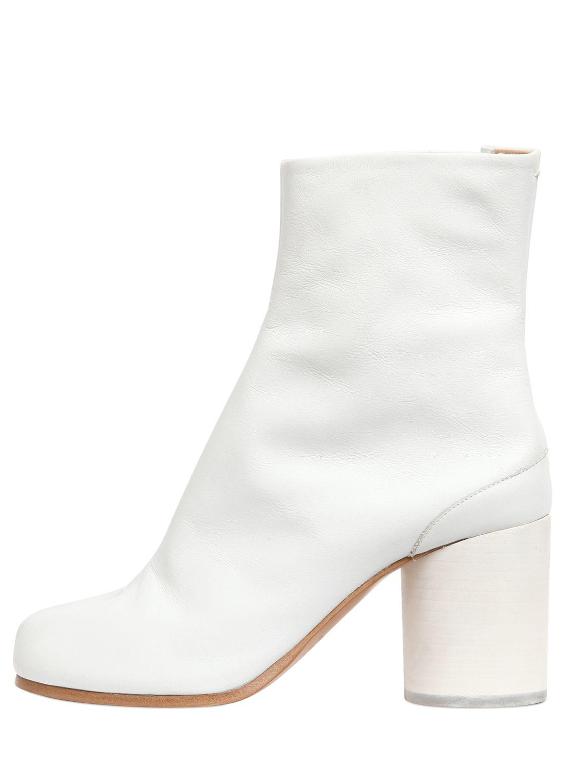 maison margiela 80mm tabi leather boots in white lyst