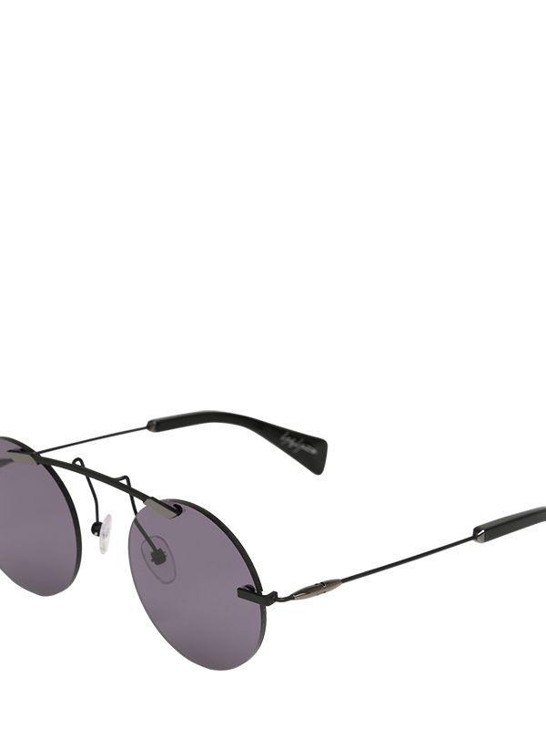 Yohji Yamamoto Round Gunmetal Finish Sunglasses in Black