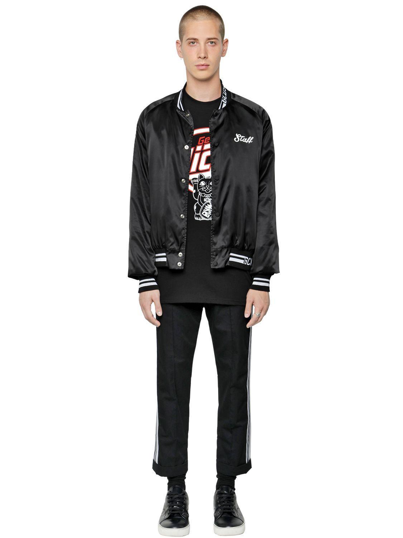 Gcds Get High Printed Satin Bomber Jacket in Black for Men