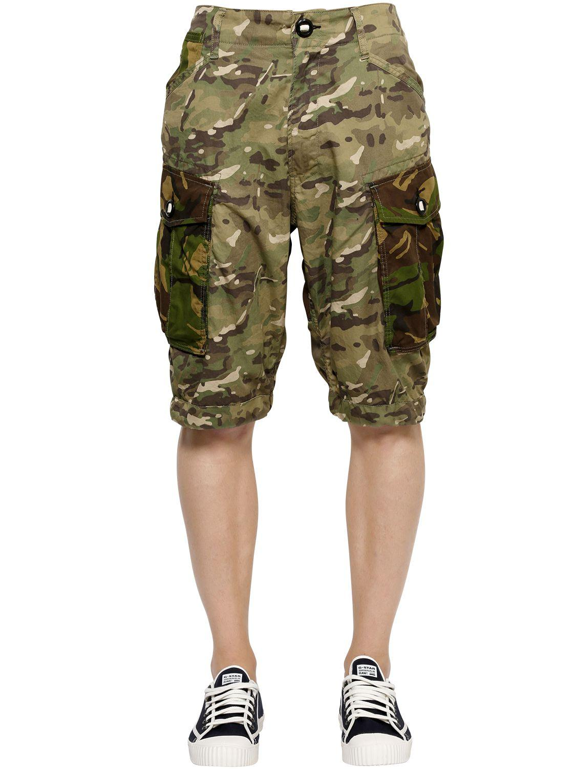 g star raw camo cotton gabardine cargo shorts in green for men lyst. Black Bedroom Furniture Sets. Home Design Ideas