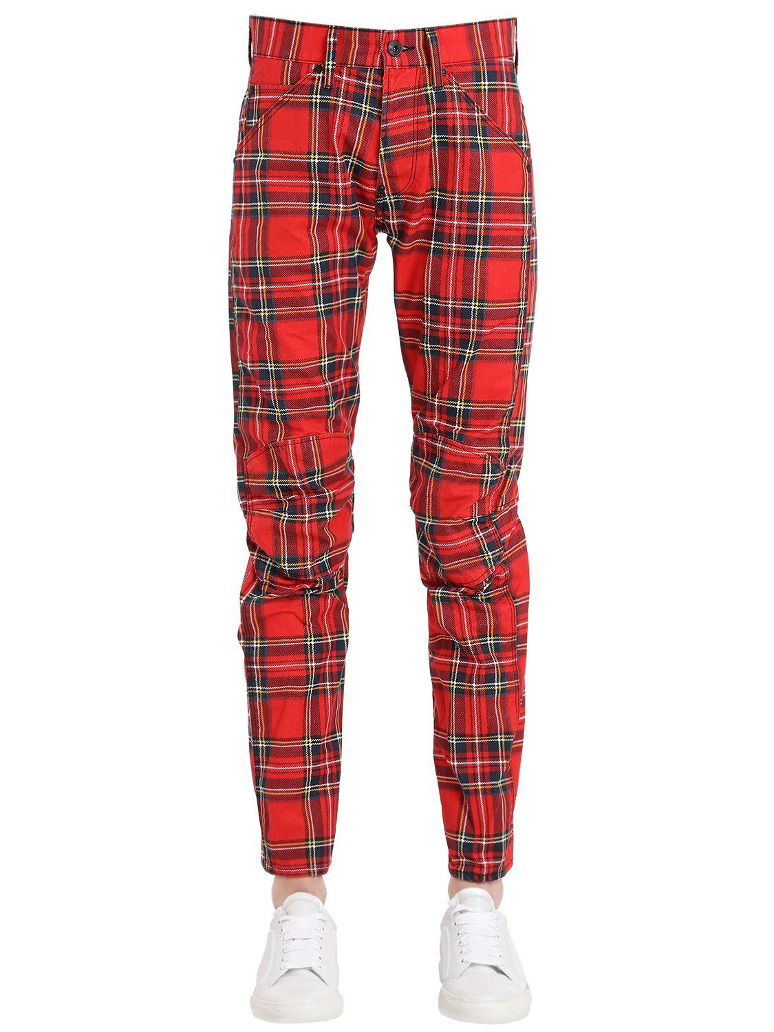 Lyst G Star Raw Plaid Printed Cotton Denim Jeans In Red